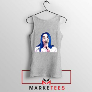 Billie Eilish Crying Sport Grey Tank Top