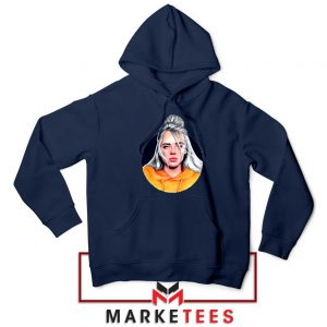 Billie Eilish Hip Hop Singer Navy Blue Hoodie