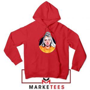 Billie Eilish Hip Hop Singer Red Hoodie
