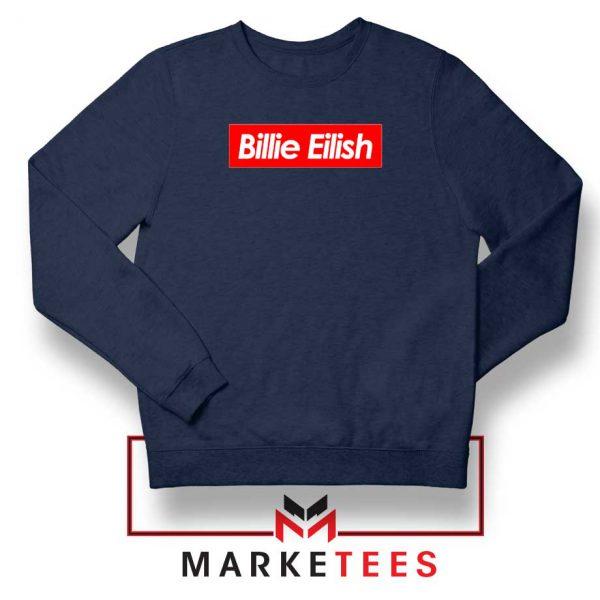 Billie Eilish Parody Supreme Navy Blue Sweater