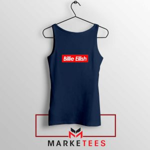 Billie Eilish Parody Supreme Navy Blue Tank Top
