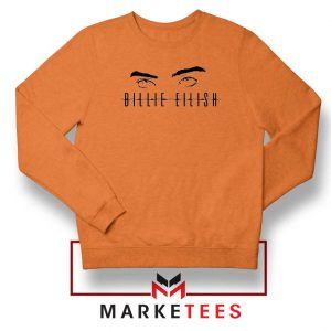 Billie Eilish Women Singer Orange Sweater