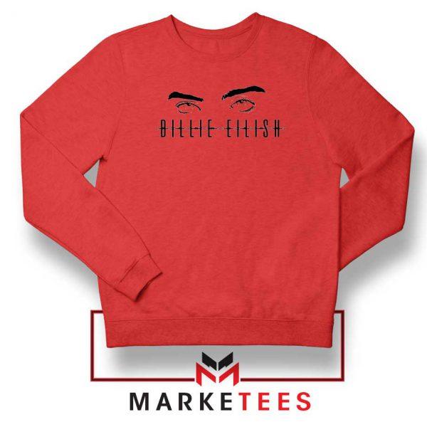 Billie Eilish Women Singer Red Sweater