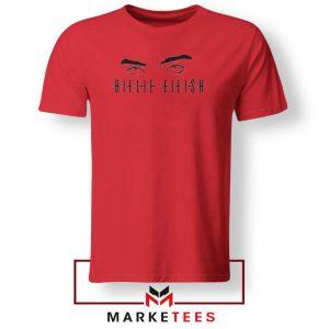 Billie Eilish Women Singer Red Tee Shirt