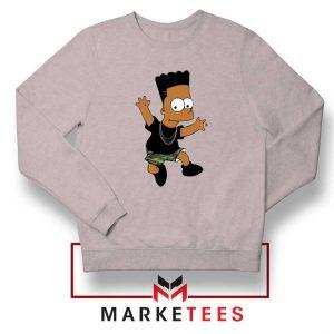 Black Bart Simpson Cartoon Grey Sweatshirt