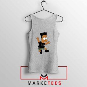 Black Bart Simpson Cartoon Grey Tank Top