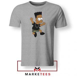 Black Bart Simpson Cartoon Grey Tee Shirt