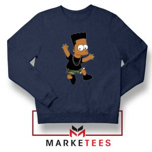 Black Bart Simpson Cartoon Navy Sweatshirt