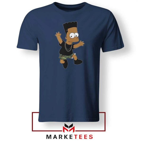 Black Bart Simpson Cartoon Navy Tee Shirt