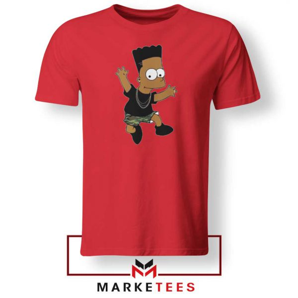 Black Bart Simpson Cartoon Red Tee Shirt