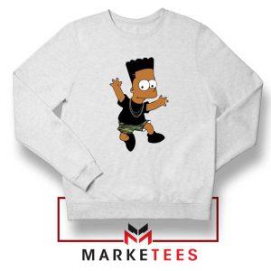 Black Bart Simpson Cartoon White Sweatshirt