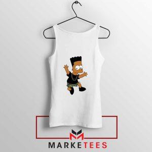 Black Bart Simpson Cartoon White Tank Top