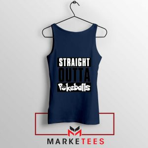 Buy Straight Outta Pokeballs Navy Blue Tank Top