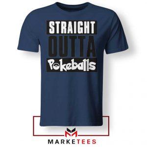 Buy Straight Outta Pokeballs Navy Blue Tee Shirt