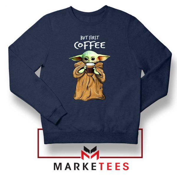 Coffee Baby Yoda Navy Blue Sweatshirt