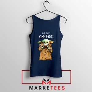 Coffee Baby Yoda Navy Blue Tank Top