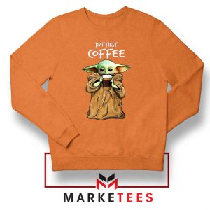 Coffee Baby Yoda Orange Sweatshirt