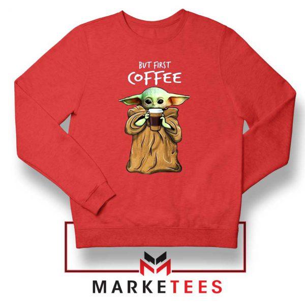 Coffee Baby Yoda Red Sweatshirt