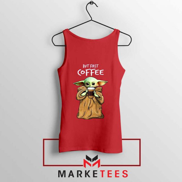 Coffee Baby Yoda Red Tank Top