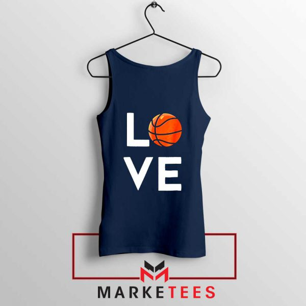 I Love Basketball Navy Blue Tank Top