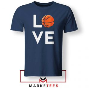 I Love Basketball Navy Blue Tee Shirt