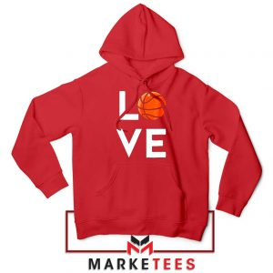 I Love Basketball Red Hoodie