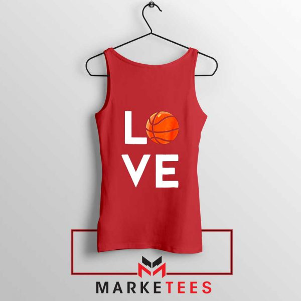 I Love Basketball Red Tank Top