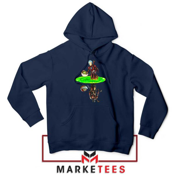 Mandalorian Rick and Morty Navy Blue Hoodie