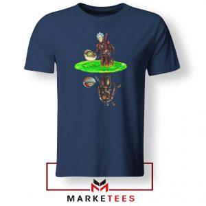 Mandalorian Rick and Morty Navy Blue Tee Shirt