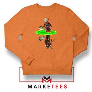 Mandalorian Rick and Morty Orange Sweater