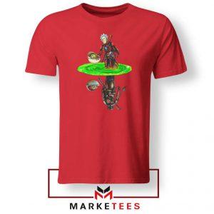 Mandalorian Rick and Morty Red Tee Shirt