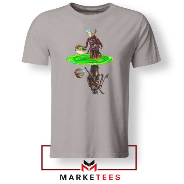 Mandalorian Rick and Morty SPort Grey Tee Shirt