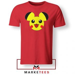 Pikachu Mickey Mouse Red Tee Shirt