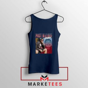 Post Malone Hollywood Bleeding Navy Tank Top