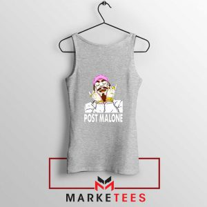 Post Malone Pink Hat Grey Tank Top