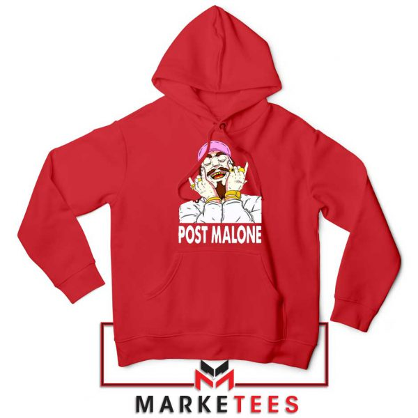 Post Malone Pink Hat Red Hoodie