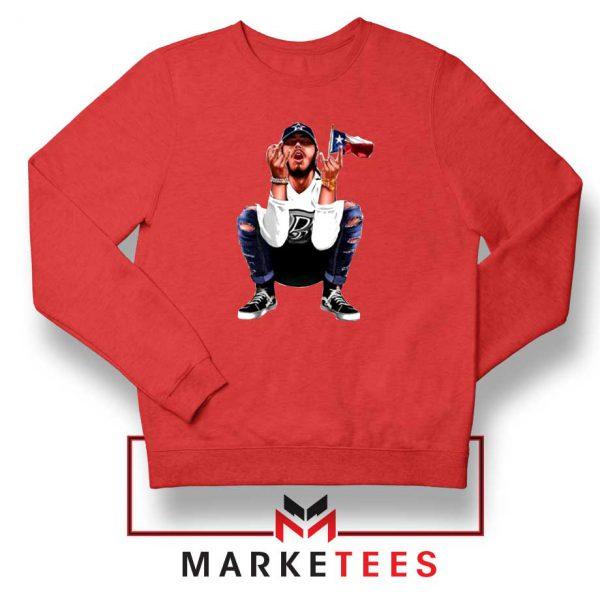 Post Malone White Iverson Red Sweatshirt