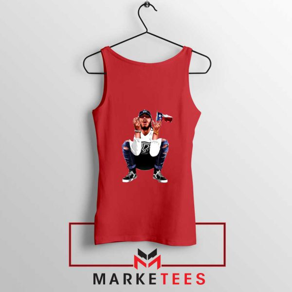 Post Malone White Iverson Red Tank Top