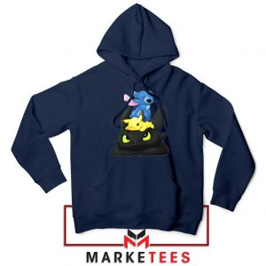 Stitch Pikachu Grinch Navy Blue Hoodie