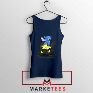 Stitch Pikachu Grinch Navy Blue Tank Top