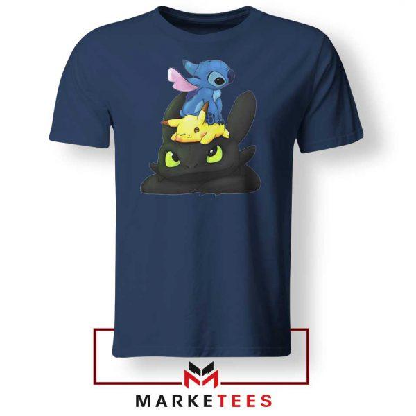 Stitch Pikachu Grinch Navy Blue Tee Shirt