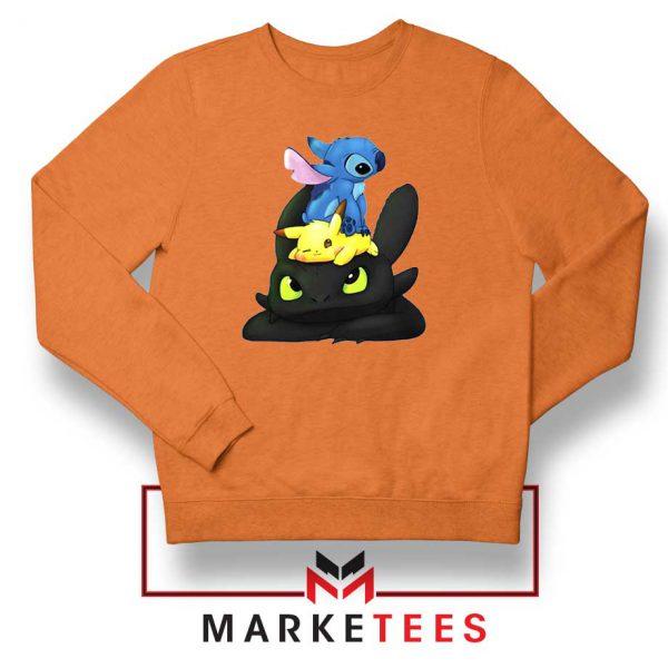 Stitch Pikachu Grinch Orange Sweatshirt