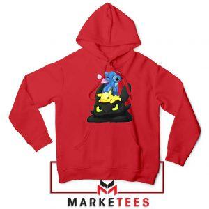 Stitch Pikachu Grinch Red Hoodie