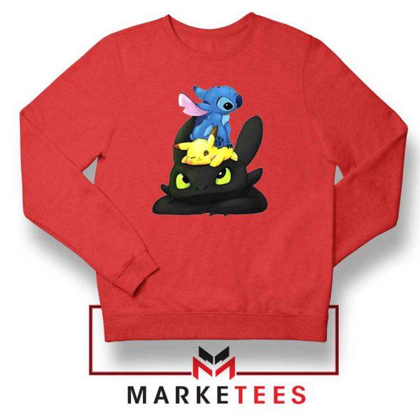 Stitch Pikachu Grinch Red Sweatshirt