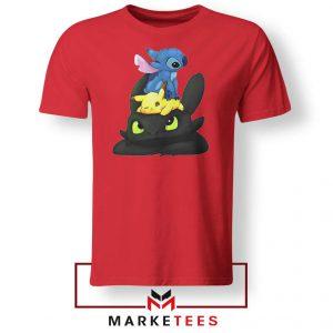 Stitch Pikachu Grinch Red Tee Shirt