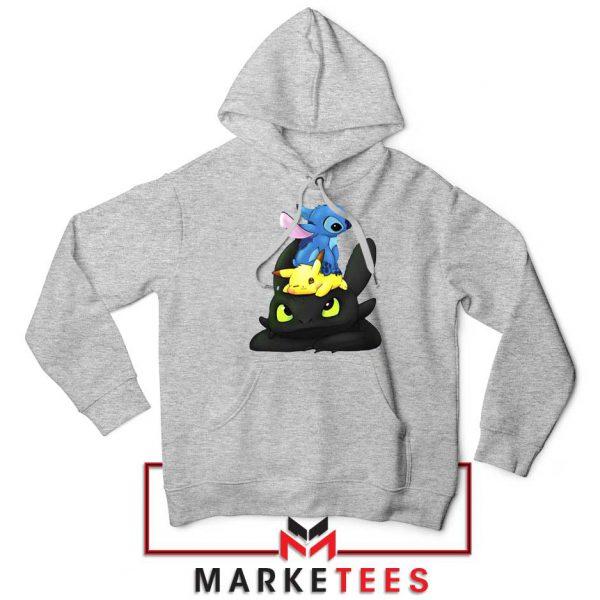 Stitch Pikachu Grinch Sport Grey Hoodie