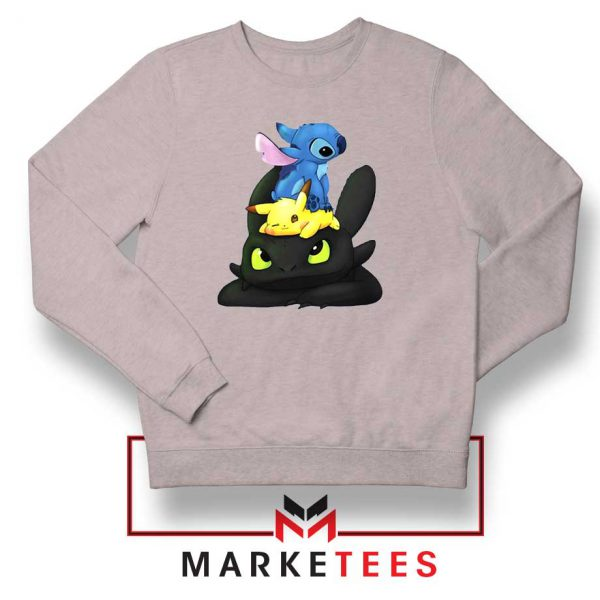 Stitch Pikachu Grinch Sport Grey Sweatshirt