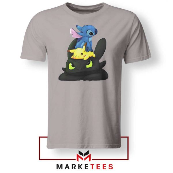 Stitch Pikachu Grinch Sport Grey Tee Shirt