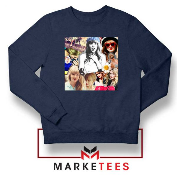 Taylor Swift Collages Navy Sweatshirt
