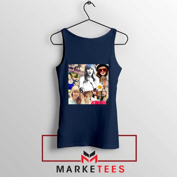 Taylor Swift Collages Navy Tank Top